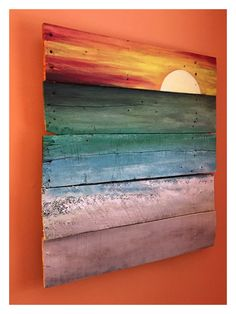 Painting on reclaimed wood. Sunset on pallet boards. Pallet Painting, Pallet Art, Painting On Wood, Painting & Drawing, Pallet Boards, Pallet Crafts, Wood Crafts, Wood Pallets, Wood Signs