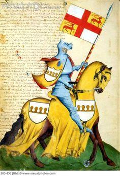 Capodilista Codex: Knight & Yellow Horse Illuminated manuscript Biblioteca Civica, Padua, Italy