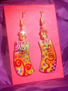 Cutie Cat Colorful Dangle Earrings by ScovilDesigns on Etsy, $8.00