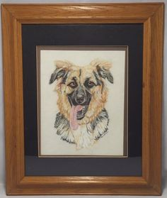 German Shepherd Charcoal Drawing Painting SIGNED Matted and Framed Happy Dog #Realism