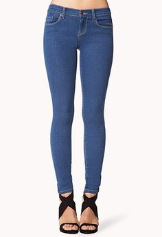 inexpensive but comfy skinny jeans. thank you Forever 21. ;) I have 4 of these <3