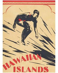 Hawaiian Islands Surf Poster 24 Vintage surf poster reproduction of Hawaiian Islands Surf.