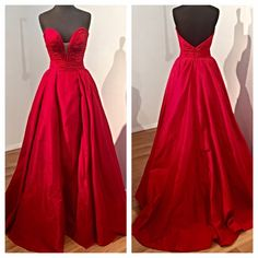 Elegant Long Evening/Prom Dress- Red Taffeta Strapless