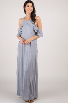 This maxi dress is the perfect basic for the spring season. A feminine open shoulder and a flowy ruffle trim gives this top a soft look. Style with your favorite accessories for a pretty look. Maternity Maxi, Pink Blush Maternity, Ruffle Trim, Ruffles, How To Look Pretty, Blush Pink, Heather Grey, Fitness Models, Cold Shoulder Dress