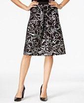 NY Collection Metallic Brocade Flare Skirt