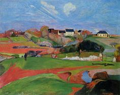 """Landschaft bei Le Pouldu"", öl auf leinwand von Paul Gauguin (1848-1903, France)"