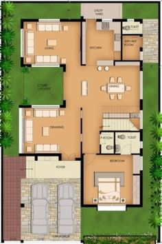 A Duplex house plan is for a single-family home that is built in two floors having one kitchen and dining. The duplex house plan gives a villa look and feel in small area. House Floor Design, Home Design Floor Plans, Bungalow House Design, Indian House Plans, House Layout Plans, Dream House Plans, Home Map Design, Home Building Design, Indian Home Design