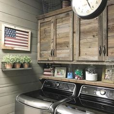 Laundry Room Ideas for Small Spaces Most people don't think of giving their laundry room a makeover. Just take a second to think about how often you are in your laundry room. A lot, right?! Make it functional and give it a little bit of … Laundry Room Shelving, Basement Laundry, Laundry Closet Makeover, Cabinets For Laundry Room, Farm Style Kitchen Cabinets, Laundry Room Ideas Garage, Laundry Room Small, Laundry Room Makeovers, Farm House Kitchen Ideas
