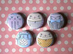 Fancy Cats Magnets for Fridge or Memo Board. $9,00, via Etsy.