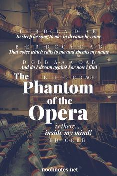 "Written by Andrew Lloyd Webber as the main theme for his 1986 play ""Phantom of the Opera"", this song has been covered by Nightwish (2002) then featured in the 2004 film. B E^ B D^ C C A D^ A B …"