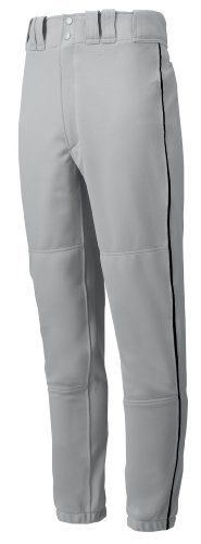 """Mizuno Youth Premier Piped Pant (Gray/Black, X-Large) by Mizuno. $20.00. 100% polyester double knit (15 oz.), tunnel-belt-loop waist, fly front with extended two-snap closure, two set-in back pockets with button closure, double knee, baseball specific cut, ankle length.S waist=22-24, inseam=22.5"""" M waist=24-26, inseam=23.5"""" L waist=26-28, inseam=25"""" XL waist=28-30, inseam=26"""" XXL waist=30-32, inseam=27"""" XXXL waist=32-34, inseam=28"""""""