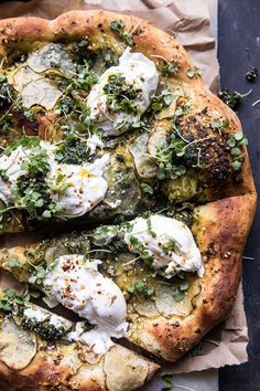 Potato and Burrata Pizza. - Pesto Potato and Burrata Pizza -Pesto Potato and Burrata Pizza. - Pesto Potato and Burrata Pizza - Red, yellow, orange and green tomatoes dot this colorful, crispy, and slightly cheesy savory pie. Pesto Pizza, Burrata Pizza, Burrata Cheese, Pizza Food, Pizza Pizza, Food Food, Flatbread Pizza, Goat Cheese, Vegetarian Recipes