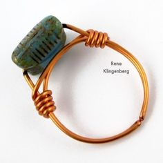 Finished ring - Adjustable Wire-Wrap Bead Ring - Tutorial by Rena Klingenberg
