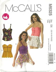 McCall's 6325 close-fitted, self-lined corset-type top with boning. Sizes 12-20.  A/B, C, D cup sizes. 1 and 1/8 yards for 20. Recommended lightweight denim, broadcloth, stretch wovens, linen, voile. Bought in McCall's out-of-print pattern sale for $ 1.99. 2011.