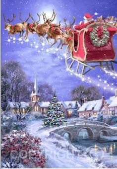 christmas scenes 40 Beautiful Christmas Painting Ideas to Try This Season - Page 2 of 3 - Bored Art Christmas Travel, Noel Christmas, Vintage Christmas Cards, Christmas Greetings, Winter Christmas, Christmas Crafts, Christmas Decorations, Xmas, Ecards Christmas