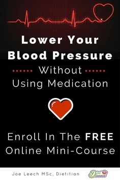 "Check out this bite-sized course on how to lower your blood pressure... without medication (totally FREE for now). The course investigates what foods are proven to affect blood pressure, why they have an effect, and how you can limit or add them into your diet. Lessons are based on the latest scientific evidence, and there are no ""miracle"" cures or supplements to sell you inside. Enroll for FREE here http://dietvsdisease.usefedora.com/courses/diet-vs-high-blood-pressure"