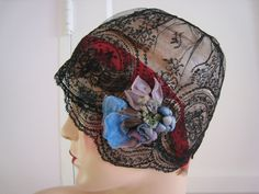 Art Deco 1920s Cloche Hat All Chantilly Lace Silk Flower Decoration