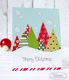 Handmade Christmas Greeting Cards with Unique Design - Beautiful Handmade Christmas Greeting Cards with Unique Design , Taylored Expressions Cas Patterned Paper Christmas forest Christmas Cards 2018, Christmas Card Crafts, Homemade Christmas Cards, Christmas Greeting Cards, Christmas Greetings, Homemade Cards, Handmade Christmas, Holiday Cards, Christmas Music