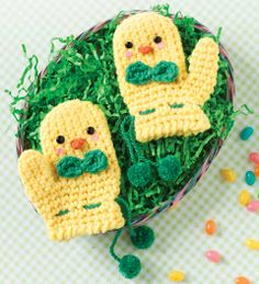 Peeps-inspired #Easter #crochet mittens pattern by Monica Rodriguez Fuertes in @Crochet Today March/April '13 Issue