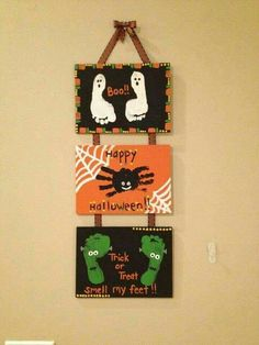 Halloween Art for the youngens  (Baby & Tots) on Canvas  Ghost spider Frankenstein