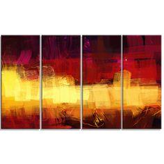 Designart - Textu Digital Abstract Art -4 Panels Abstract Canvas Print