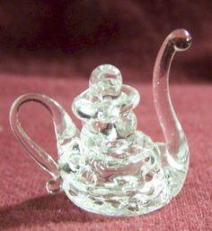 Spun Glass Miniature Tea Pot.