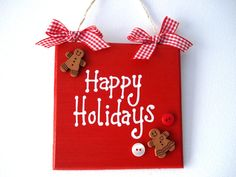 Happy Holidays wooden hand painted Christmas