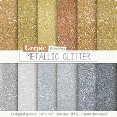 "Metallic digital paper: ""METALLIC GLITTER"" with gold | metal | bronze | copper | silver | diamond sparkles glitter textures in metals colors Grepic 4.95 USD"