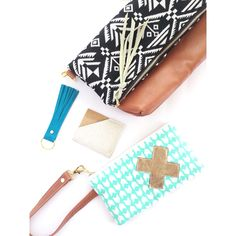 Black and white woven Aztec with caramel leather and a coordinating zippy wallet with wrist strap