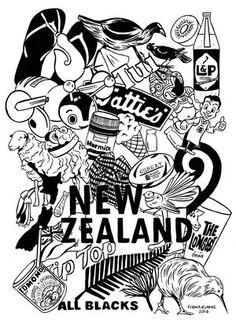 Kiwiana Doodle New Zealand Tattoo, New Zealand Art, Flower Tattoo Foot, Flower Tattoos, Map Icons, Fairy Tattoo Designs, Full Back Tattoos, Nz Art, Maori Art