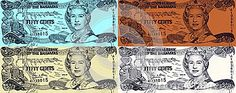 Queen Elizabeth II on 50 Cents 2001 Banknote from Bahamas.
