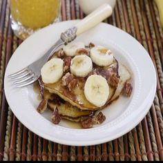 "2-Ingredient Wheat-Free Banana Pancakes (Paleo) I ""We've been making this recipe for years!! Anyone who eats clean knows this recipe and loves it!!"""