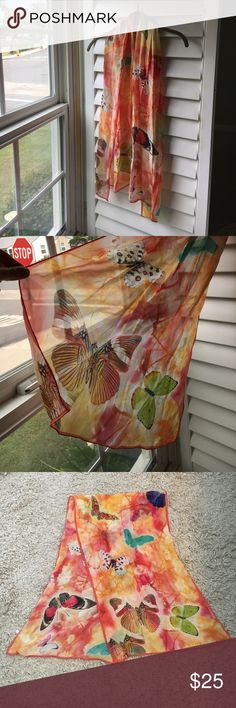 100% silk butterfly scarf NEW w/o tags. Beautiful 100% silk scarf. Variety of colored butterflies on a red/orange/ cream background Accessories Scarves & Wraps