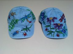 Ladies Baseball Cap Wildflowers or Critters hand painted c71114ae32a6