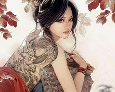 Dragon Tattoo on 3d Women Back