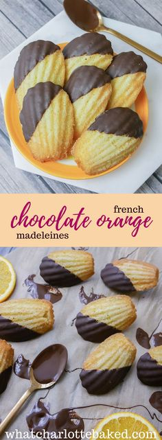 Chocolate Orange French Madeleines is part of Madeleine recipe Classic orange French Madeleines + melted orange chocolate something a little bit special - Dessert Mousse, Dessert Oreo, Madelines Recipe, Chocolate Madeleines Recipe, Madeline Cookies Recipe, French Deserts, French Sweets, French Dessert Recipes, Panna Cotta