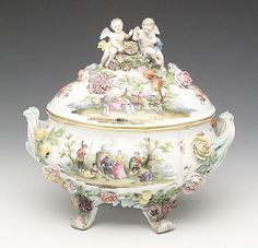 A Large German Porcelain Tureen, late 19th c., Carl Thieme Saxonian Porcelain Factory, Potschappel, blue crossed swords mark, in the manner of Meissen,