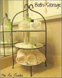 Plate stand for extra bathroom storage.