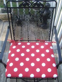 Indoor / Outdoor Red Polka Dot Fabric Patio by PillowsCushionsOhMy, $24.96