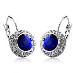 White gold plated Austrian crystal earrings - Blue