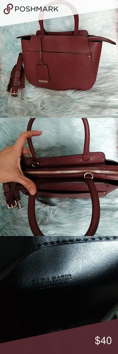 Zara Burgundy Medium Tote Bag NWOT 2 outer pockets Height: 9 in Handle Height: 5 in Length : 12 in Width: 5 in Color: Burgundy  With 41 inch removable and adjustable shoulder strap Gold Metal hardware Zara Bags Totes