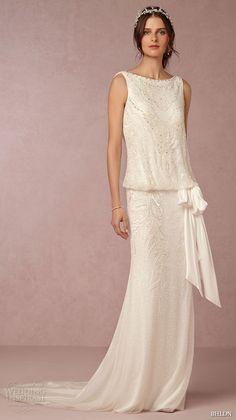 bhldn fall 2015 wedding dresses sleeveless boat bateau neckline blouson vintage art deco wedding dress arabella full view