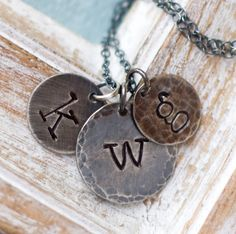 Mothers Necklace, Personalized Necklace, Initial Necklace, Stamped Necklace, Necklace, Charm Necklace for Moms, Initial Jewelry, Monogram by jemmijewelry on Etsy