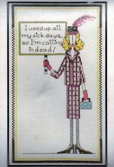 "Dolly Mamas Sick Days Janlynn Counted Cross Stitch Kit #019-0440 6"" x 10""  New #JanlynnDollyMamas #CrossStitchKit"