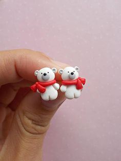 Christmas earrings Winter earrings Polar Bear earrings Stud earrings Christmas gift Secret Santa gift Holiday jewelry Xmas earrings  This is a cute pair of earrings created from polymer clay without molds or forms, with polar bears. A perfect gift for winter holidays. The lenght of each