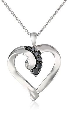 Sterling Silver Black Diamond Heart Pendant Necklace (1/4 Cttw), 18″	by Amazon Curated Collection - See more at: http://blackdiamondgemstone.com/jewelry/necklaces/pendants/sterling-silver-black-diamond-heart-pendant-necklace-14-cttw-18-com/#sthash.WoFrPH6N.dpuf