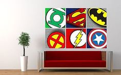 #Superhero logos pop art badges wall sticker boys #bedroom decal superman #batman,  View more on the LINK: http://www.zeppy.io/product/gb/2/331873086852/
