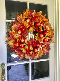 Fall Wreaths For Front Door Fall Front Door Wreath image 1 Autumn Wreaths For Front Door, Fall Wreaths, Door Wreaths, Apple Wreath, Apple Farm, Hydrangea Wreath, Red Apple, Grape Vines, Fall Decor
