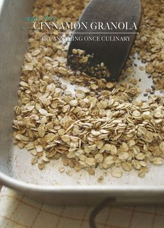 Cinnamon granola, made with a few simple ingredients and you can easily add nuts or seeds. I added flax seeds for this batch but I usually prefer almonds. :-)