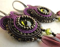 Soutache earrings with Swarovski rivolis and Toho beads...love the craftmanship and all the layering! (soStudio on etsy)
